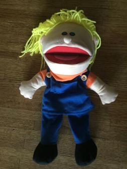 Full Body Hand Puppet-Blonde Boy With Blue Overalls