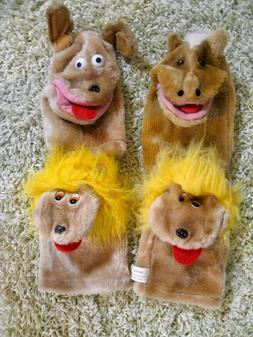 Hand Puppet Friends Set of 4 - 2 Lions, Horse,  Dog Moving M