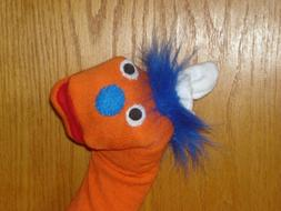 Uglist sock puppet orange theater puppets movable mouth